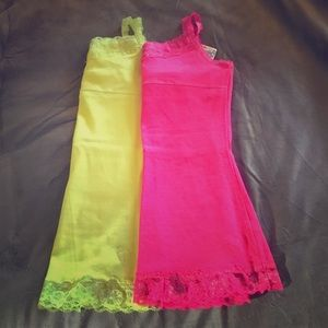 2 girl's neon color Justice lace camis nwt & nwot